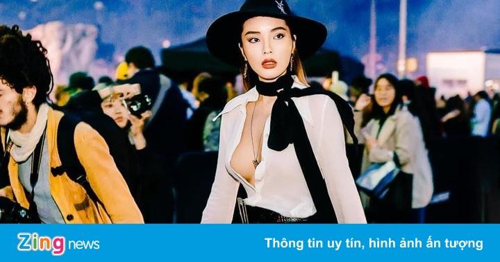 Hoa hậu Kỳ Duyên không mặc nội y khi đi xem thời trang ở Pháp