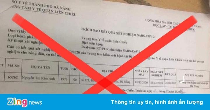 'Đà Nẵng có người dương tính với SARS-CoV-2' là tin giả