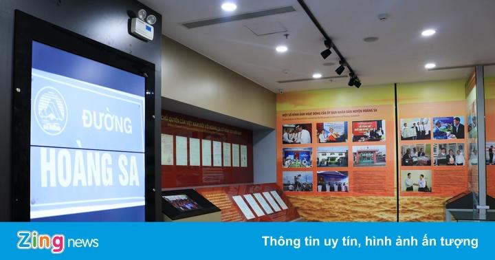 Bên trong nhà trưng bày Hoàng Sa ở Đà Nẵng