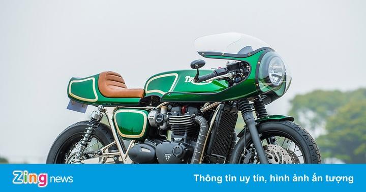Xe độ Triumph T120 Cafe racer xanh ngọc bích lạ lẫm