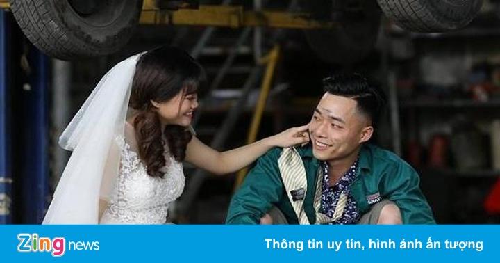 Ảnh cưới trong garage ôtô của vợ chồng chàng thợ máy Hải Dương