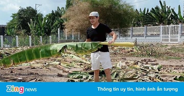 Minh Luân cải tạo vườn 2.000 m2 khi về quê tránh dịch