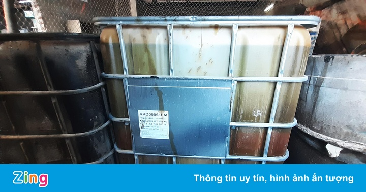 Kho chứa dầu thải của công ty gốm sứ Thanh Hà
