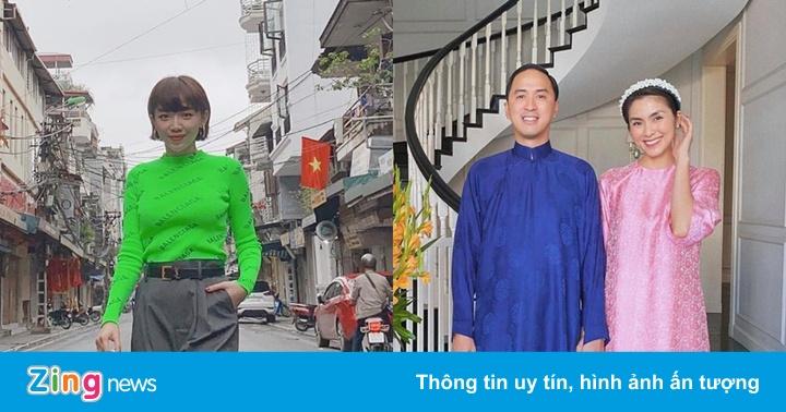 Tóc Tiên mặc áo nõn chuối, Tăng Thanh Hà diện áo dài hồng bên chồng